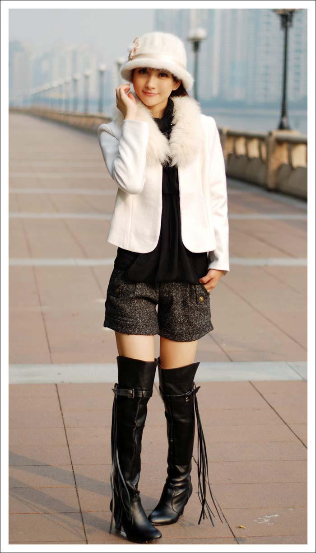 00后短裙过膝袜美女_5cm过膝长靴(黑色 咖啡色)图片