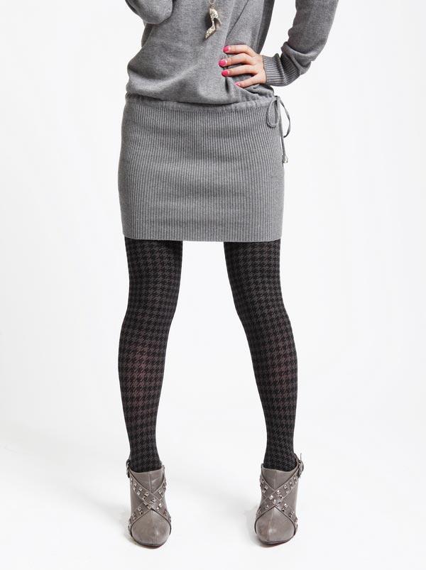 灰色高领带抽带毛衣裙