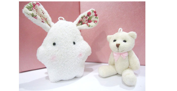 lux-women可爱毛绒公仔手机链泡泡兔/迷糊熊(购买lux商品随机赠送)