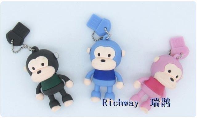 【瑞鹊】立体可爱情侣小猴4g u盘(男款蓝色)