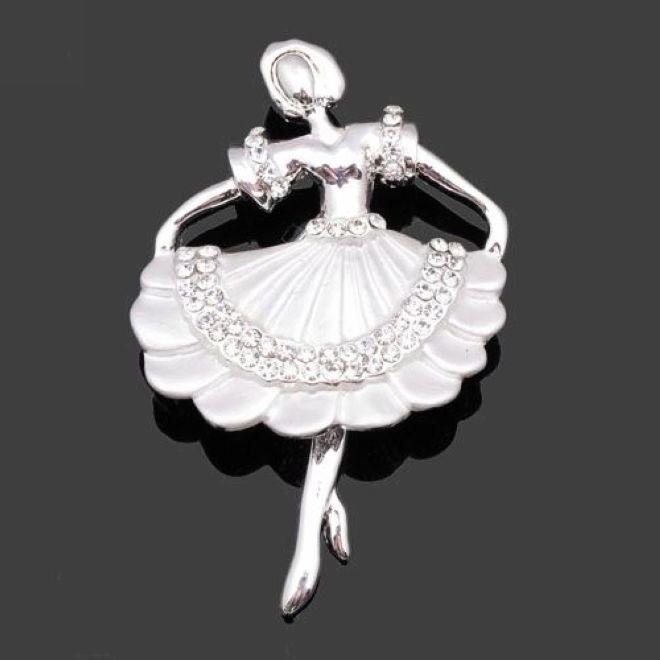 红珊瑚韩版新款舞蹈女孩可爱胸针【图片