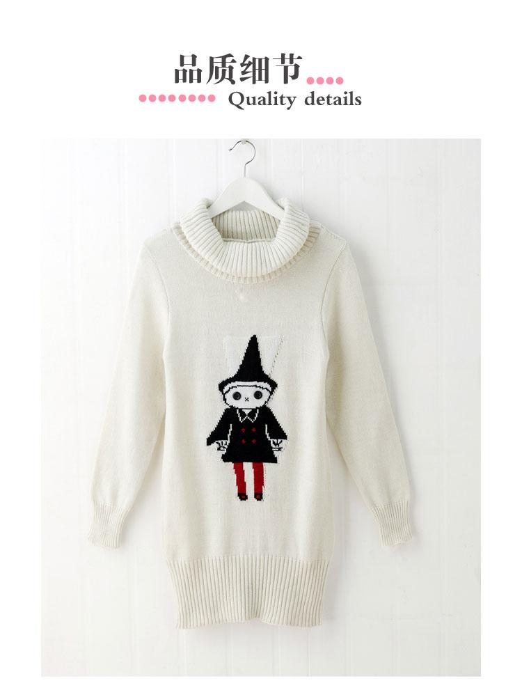 【epin11 亿品】韩版时尚堆堆领可爱小人图案长款毛衣