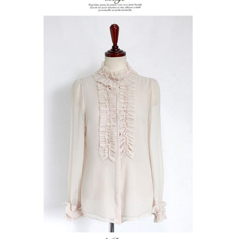 时尚女式衬衫(杏白) 百折装饰花纹搭起浪漫女人的