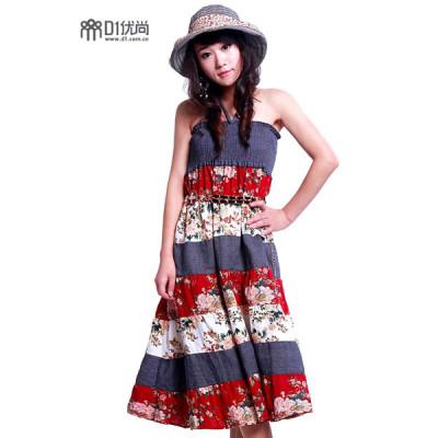 【D1推荐】可做抹胸裙可做半截裙.百搭夏威夷风格碎花长裙(红)