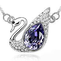 【YOUSOO】舞后之王天鹅水晶项链(紫色)