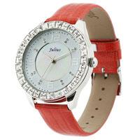 Julius聚利时鳄鱼皮纹表带璀璨水晶女表JA-379红