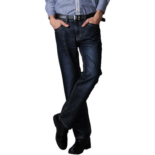 保罗威特】2011秋冬新款男士欧式时尚褶皱直百搭牛仔