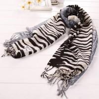 【S.K.T】羊毛系列 斑马纹时尚围巾(黑色)