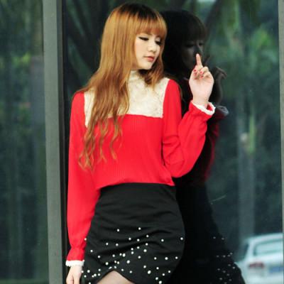 欧式玫瑰蕾丝高领雪纺打底衫(大红色)