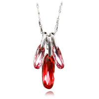 【YOUSOO】奢华彩钻系列菱形诱惑水晶项链(蓝色 红色 香槟色)