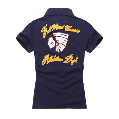 【FEEL MIND】FM女装纯棉加厚图案后背印第安炫酷图案款纯棉短袖T恤/POLO衫(深蓝)
