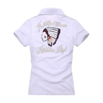 【FEEL MIND】FM女装立体贴布工艺图案后背印第安图案款纯棉短袖T恤/POLO衫(白色)