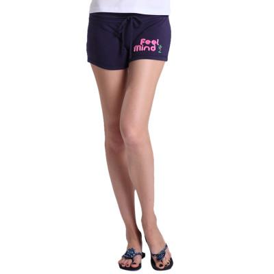 【FEEL MIND】FM女装贴布风格抽绳短裤(蓝色)