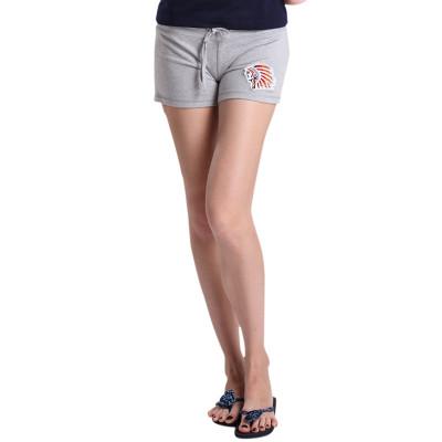 【FEEL MIND】FM女装贴布风格抽绳短裤(灰色)