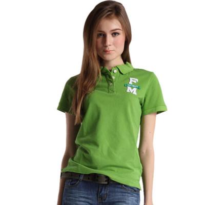 【FEEL MIND】FM女装翻领立体贴布图案学院派字母款纯棉短袖Polo翻领T恤(草绿)