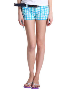【FEEL MIND】FM女装南加州风格夏日阳光格仔短裤(天蓝)
