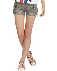 【FEEL MIND】FM女装西部户外系列翻边款纯棉迷彩短裤