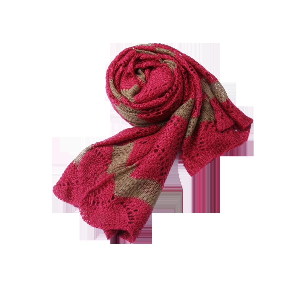 小栗舍】扇形镂空花纹双色围巾(玫红)