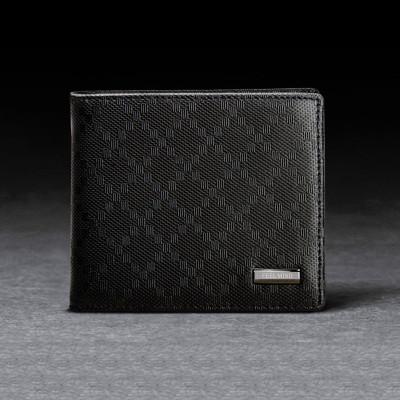 mind】男士菱形压花纹高级牛皮多卡位钱包皮夹(黑色)