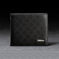【FEEL MIND】男士菱形压花纹高级牛皮多卡位钱包皮夹(黑色)