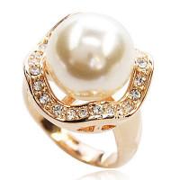 【YOUSOO】众星拱月优雅大珍珠戒指(金色)
