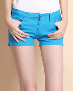 【AleeiShe 小栗舍】糖果色牛仔短热裤(宝蓝)断码特卖
