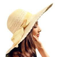 防紫外线韩版沙滩帽大沿帽夏天蝴蝶结圆顶遮阳帽大檐草帽