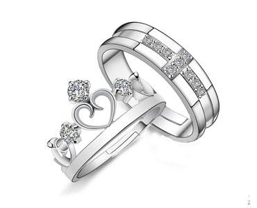 王子与公主情侣镀银戒指对戒