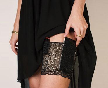 女士轻装出行必备蕾丝袜收纳腿包