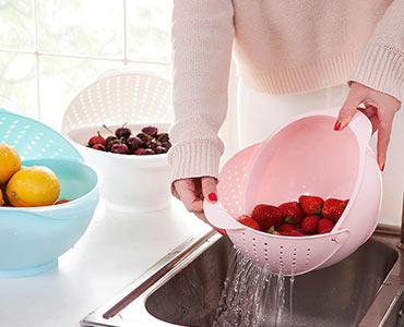 创意带翻盖洗菜篮