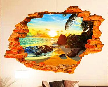 创意墙贴阳光海滩