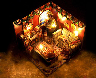 小屋手工拼装圣诞房子模型
